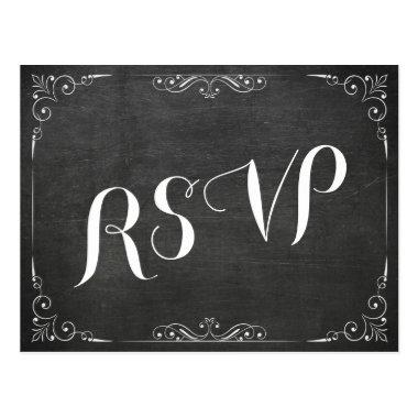 Black White Chalkboard Floral Wedding Shower RSVP Post
