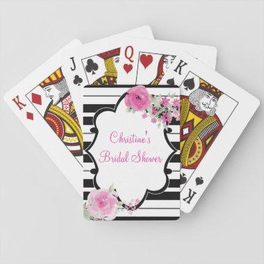 Black, White, flower Bridal Shower Playing Invitations