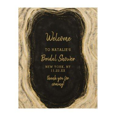 Black White Geode Bridal Shower Welcome Sign