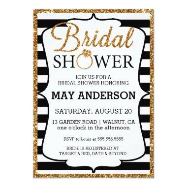Black&White Gold Glitter Bridal Shower Invitations