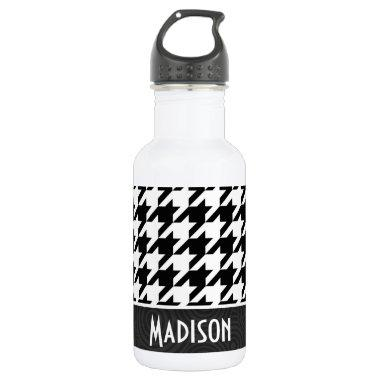 Black & White Houndstooth Stainless Steel Water Bottle
