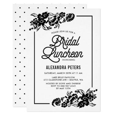 Black & White Modern Floral Bridal Luncheon Invitations