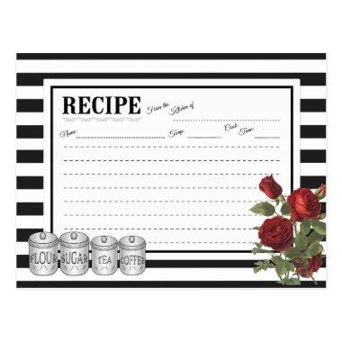 Black | White Modern Stripes Floral Recipe Invitations