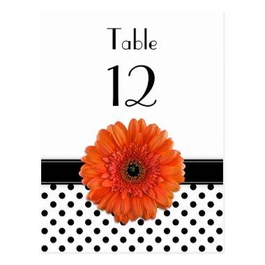 Black White Polka Dot Orange Gerber Table Card
