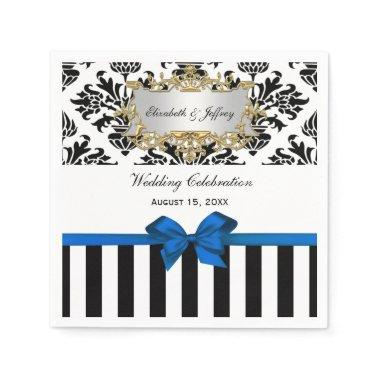 Black White Stripe Damask Blue Ribbon Paper Napkin