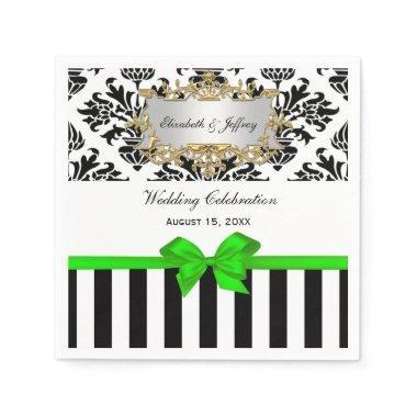 Black White Stripe Damask Lime Green Ribbon Paper Napkin