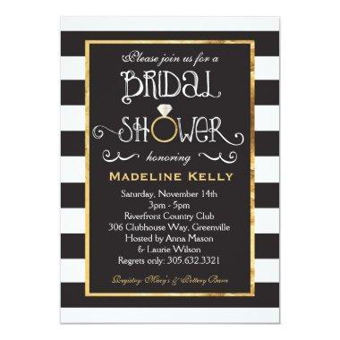 Black White Stripe Wedding Ring Shower