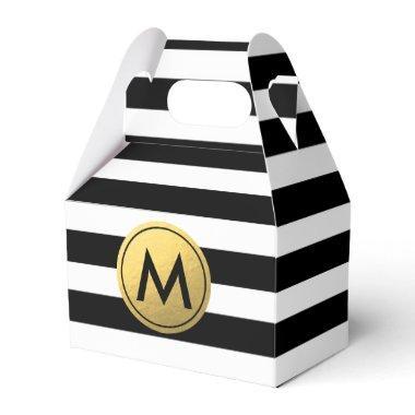 Black & White Striped Gold Foil Party Favor Boxes