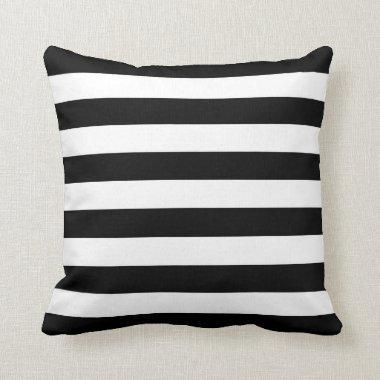 Black White Striped Throw Pillow