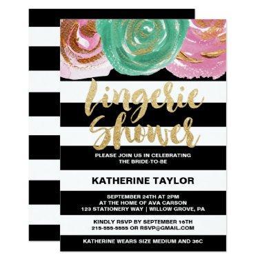 Black White Stripes and Gold Text Lingerie Shower