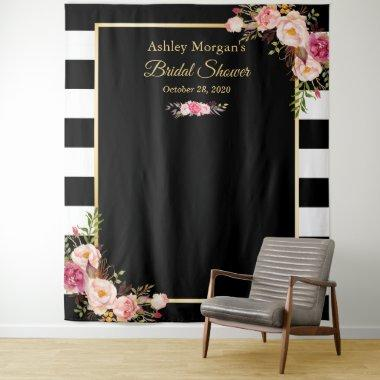 Black White Stripes Floral Bridal Shower Backdrop