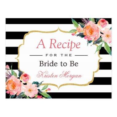 Black White Stripes Floral  Recipe Post