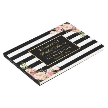 Black White Stripes Floral Wedding  Guest Book