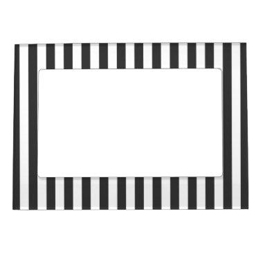 Black & White Stripes Refridgerator Magnet Frame