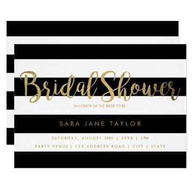 Black & White Stripes with Gold Foil Bridal Shower Invitations