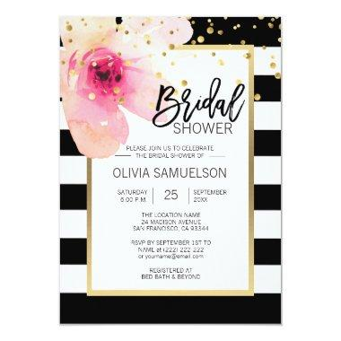 Black White Watercolor Pink Floral Bridal Shower Invitations