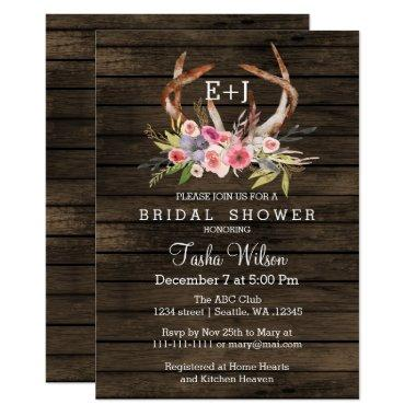 Blooming Antlers Country Chic  Invite