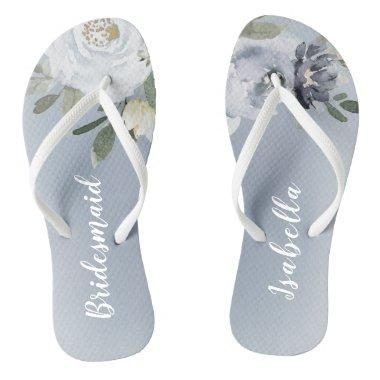 Blooming botanical dusty blue floral bridesmaid flip flops