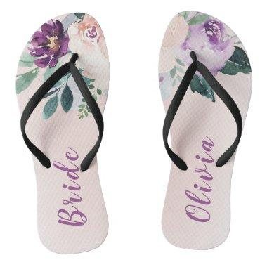 Blooming botanical purple personalized bride flip flops