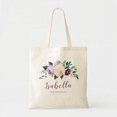 Blooming botanical purple personalized bridesmaid tote bag