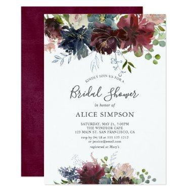 Blue And Burgundy Watercolor Floral