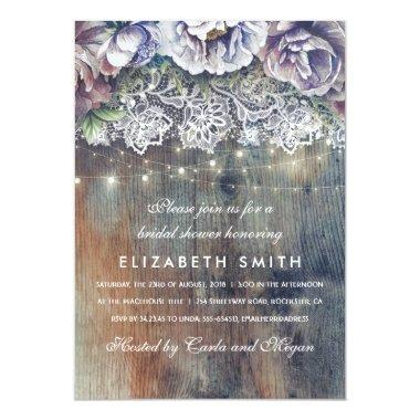 Blue and Maroon Rustic Floral Bridal Shower Invitations