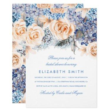 Blue and Peach Watercolor Florals