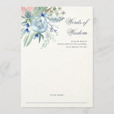 Blue and Pink Peony | Bridal Shower Advice Card