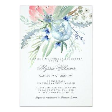 Blue and Pink Peony Watercolor Bridal Shower Invitations
