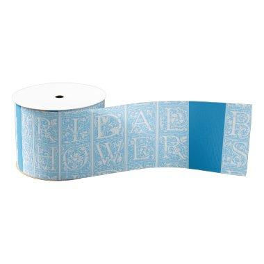 Blue and White  Text Ribbon Design