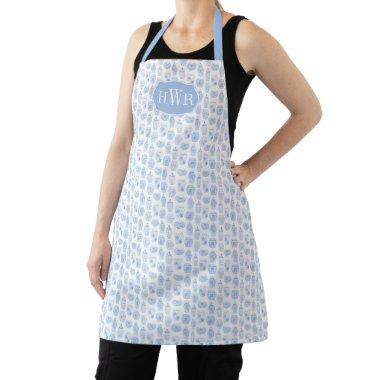 Blue And White Monogram Ginger Jar Wedding Gift Apron