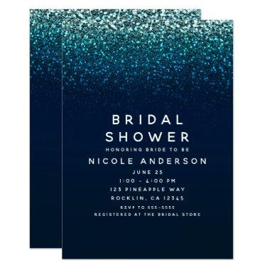 Blue Aqua Navy Glitter Sparkle Bridal Shower Invitations