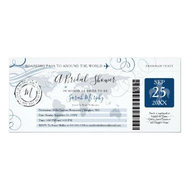 Blue Around the World Bridal Shower Boarding Pass Invitations