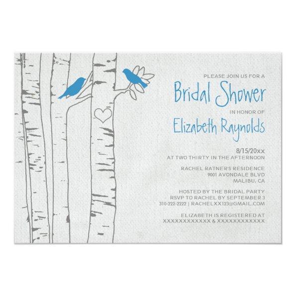 216 blue birds bridal shower invitations