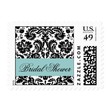 Blue Black  Damask Postage
