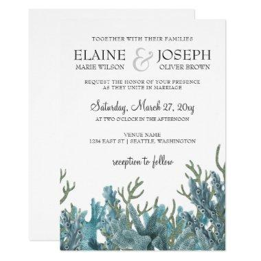 Blue Corals Under The Sea Wedding Invitations