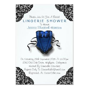 Blue Corset & Black Lace Lingerie Shower