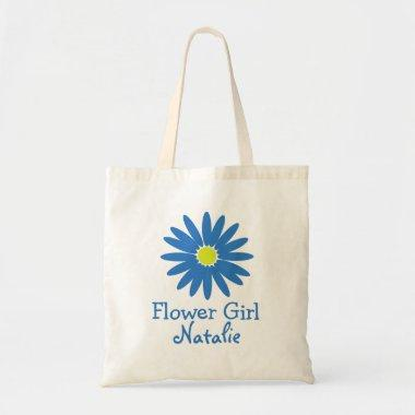 Blue Daisy with Customizable Text Tote Bag