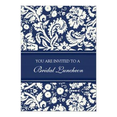 Blue Damask Bridal Luncheon Invitation Invitations
