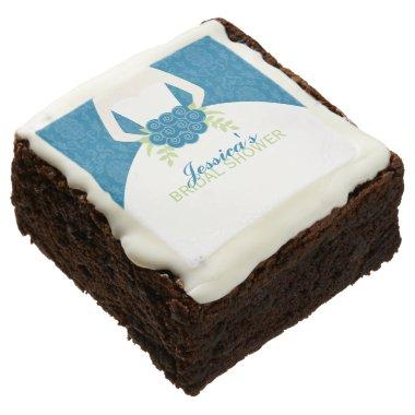 Blue Damask Elegant Bride  Brownie