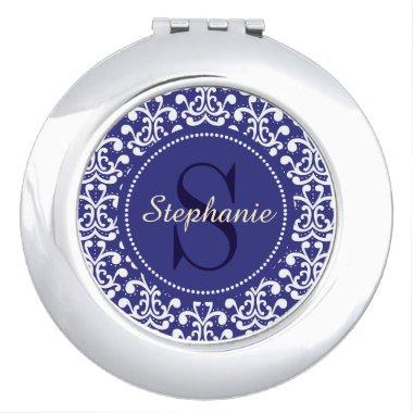 Blue Damask Monogram Personalized Compact Mirror