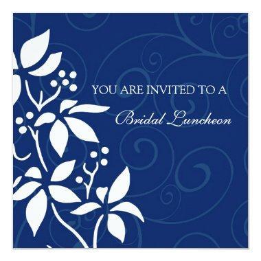 Blue Floral Bridal Luncheon Invitation