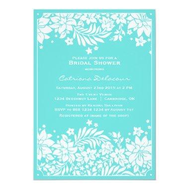 Blue Floral Pattern Bridal Shower Invitations