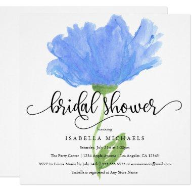 Blue Floral Watercolor |  Invite