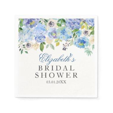 Blue Floral Watercolor  Napkins