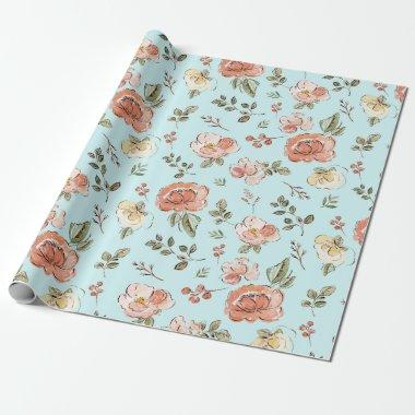 Blue Floral Wrapping Paper