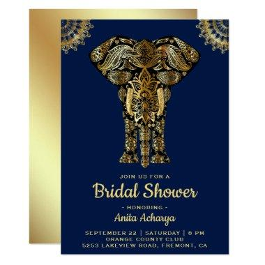Blue Gold Elephant Indian Bridal Shower Invitations