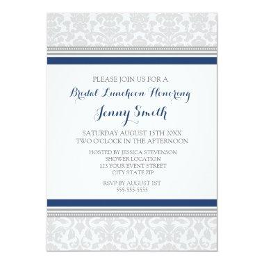 Blue Gray Damask Bridal Lunch Invitation