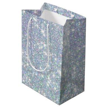 Blue Green Glitter Stars Confetti Medium Gift Bag