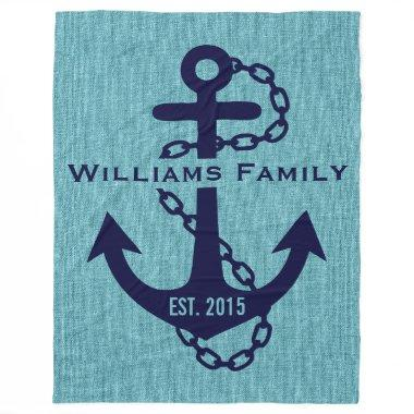 Blue-green Linen With Rustic Blue Wedding Anchor Fleece Blanket